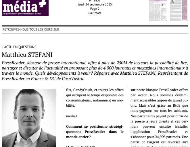 PressReader, avenir de la presse : interview de Matthieu Stefani dans Media+